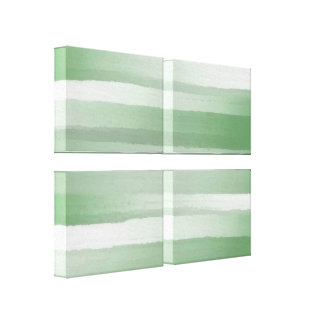 Green Striped Abstract Art-Customizable Canvas Print