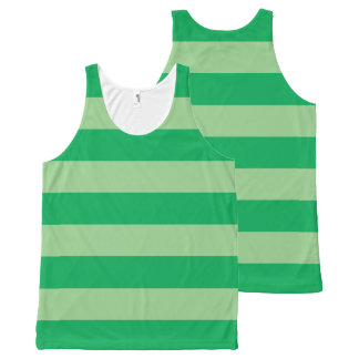 Green Striped All-Over-Print Tank Top