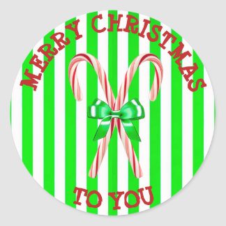 Green Striped Candy Cane Bow Christmas Sticker