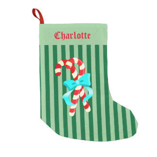 Green Striped Candy Cane Stocking