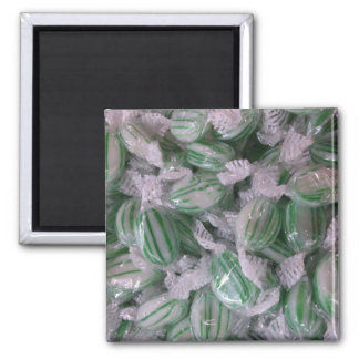 Green Striped Candy Square Magnet