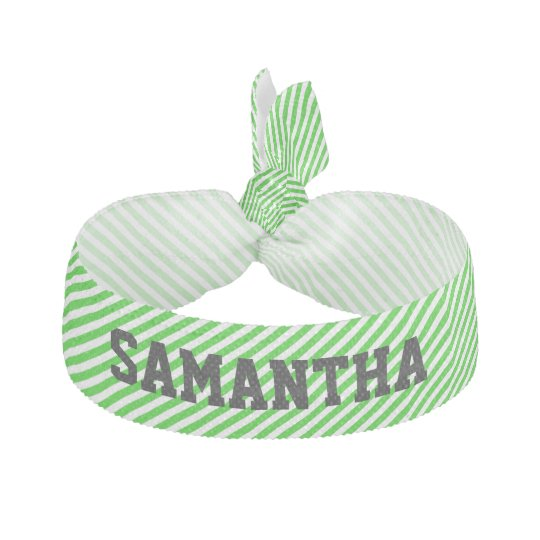 Green Striped Custom Hair Band Hair Tie