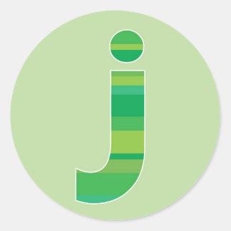 Green Striped Monogram - Letter J Classic Round Sticker