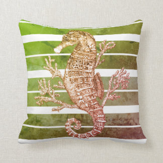 Green Striped Seahorse and Coral Throw Pillow