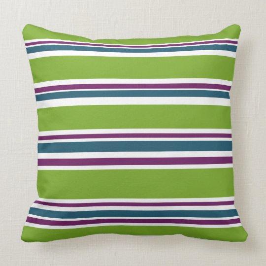 Green Striped Stripes Designer Chic Trendy Bedroom Throw Pillow
