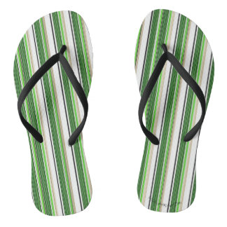 Green Striped Summer Awning Flip Flops
