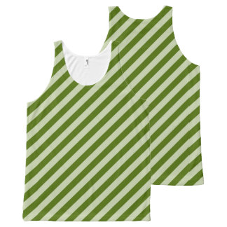 Green Stripes All-Over-Print Tank Top