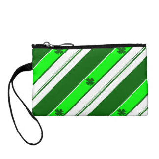 Green Stripes and Lucky Shamrocks Coin Wallets