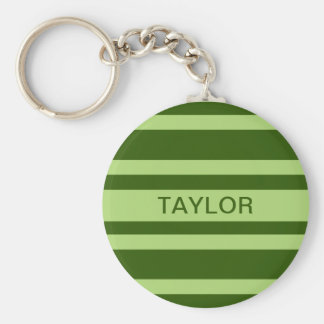 Green Stripes custom monogram key chains