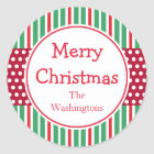 Green Stripes Dots Holiday Christmas Stickers