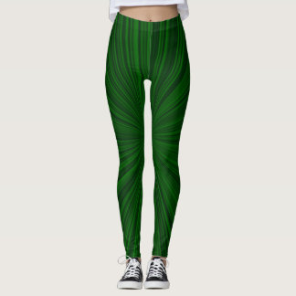 Green stripes leggings