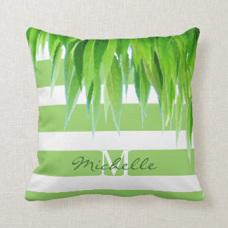 Green Stripes Monogram With Green Leaves Canopy Throw Pillow