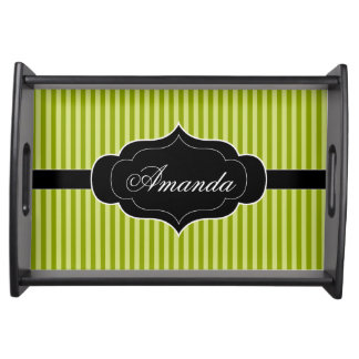 Green Stripes Pattern Black Banner Custom Name Serving Tray