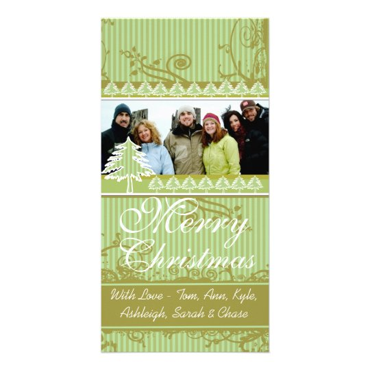 Green Stripes Pine Swirl Holiday Family Pictures Photo Card Template