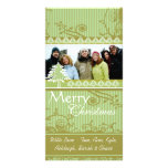 Green Stripes Pine Swirl Holiday Family Pictures Photo Greeting Card
