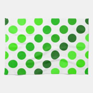 Green Stripes Polka Dot Pattern Kitchen Towel