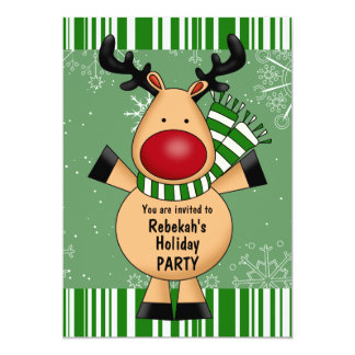 """Green Stripes Reindeer Holiday Party 5"""" X 7"""" Invitation Card"""