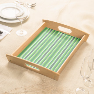 Green Stripes Serving Tray