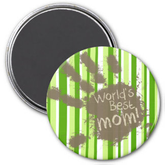 Green Stripes; Striped; Funny Mom Refrigerator Magnet