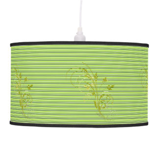 Green Stripes with Swirl Hanging Pendant Lamp