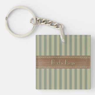 Green Stripes with Worn Wood and Your Text Double-Sided Square Acrylic Keychain