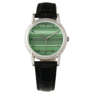 Green stripes wristwatch