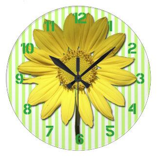 Green Stripes Yellow Daisy Wall Clock