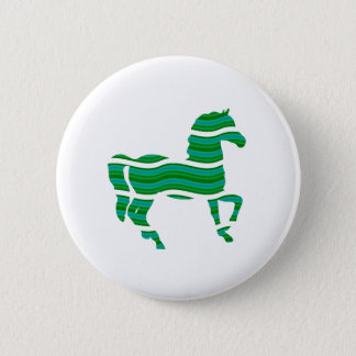 Green stripped Thoroughbred 2 Inch Round Button