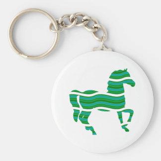 Green stripped Thoroughbred Basic Round Button Keychain