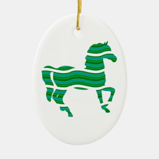 Green stripped Thoroughbred Ceramic Ornament