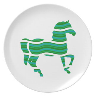 Green stripped Thoroughbred Party Plates