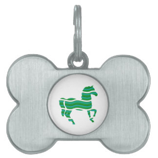 Green stripped Thoroughbred Pet Name Tag