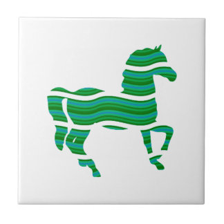 Green stripped Thoroughbred Tile