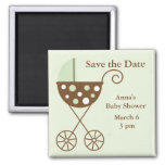 Green Stroller Baby Shower Save the Date Square Magnet