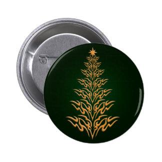 Green Stylish Christmas Tree Button