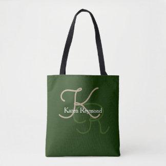 green stylish monogram tote bag