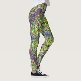Green Succulent Geometric Leggings