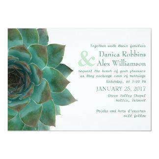 Green Succulent Horizontal Wedding Invitations
