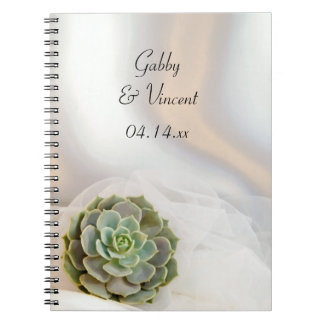 Green Succulent on White Wedding Notebook
