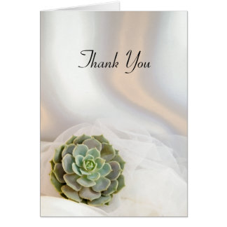 Green Succulent on White Wedding Thank You Card