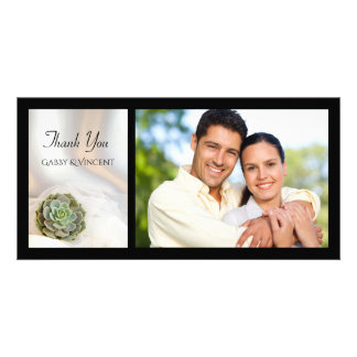 Green Succulent on White Wedding Thank You Photo Photo Card Template