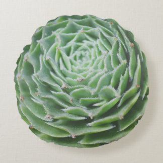 Green Succulent Photo Round Pillow