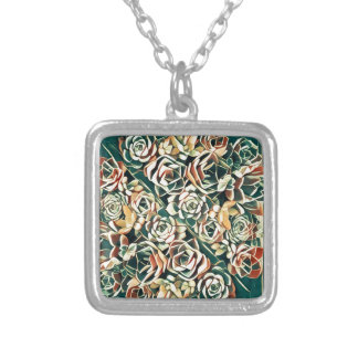 green succulent square silver plated necklace