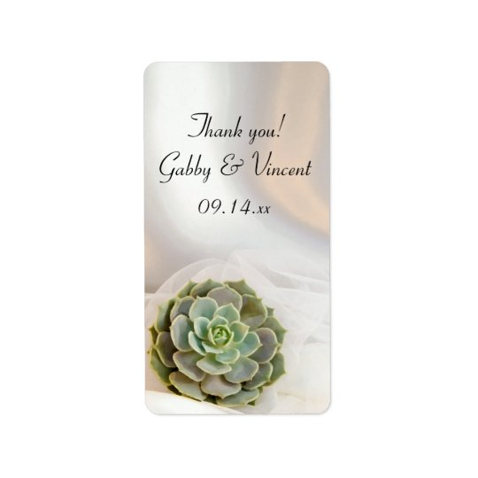 Green Succulent White Wedding Thank You Favour