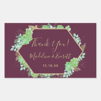 Green Succulents Gold Frame Wedding Thank You Sticker