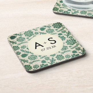 Green Succulents in Natural Wedding Monogram Coaster