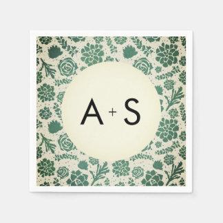 Green Succulents in Natural Wedding Monogram Napkin