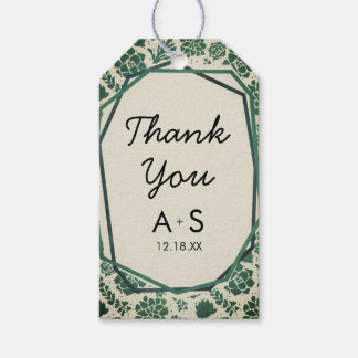 Green Succulents in Natural Wedding Thank You Gift Tags