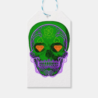 Green Sugar Skull Gift Tags