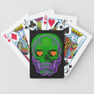 Green Sugar Skull Playing Cards